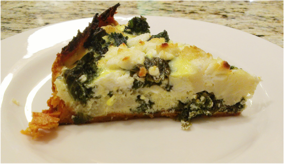Kale & Cauliflower Quiche with a Sweet Potato Crust. Recipe by Creating a Curated Life