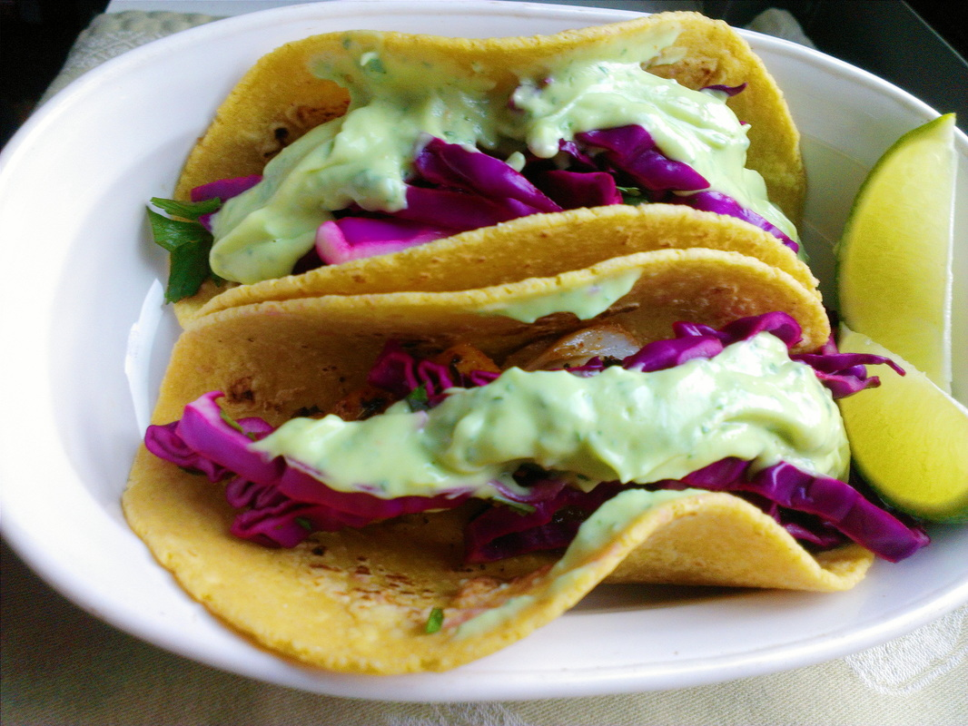 Fish Tacos with Red Cabbage Slaw. By Creating a Curated Life Blog.