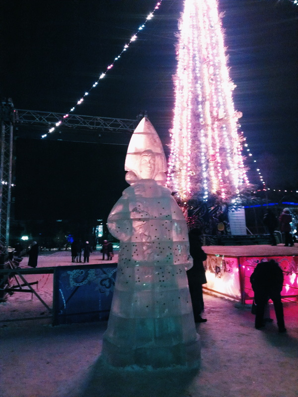 Ice sculpture of Snegurochka