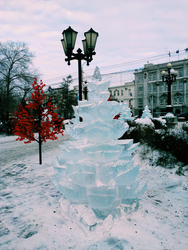 Christmas in Russia is full of traditions including ice sculptures.