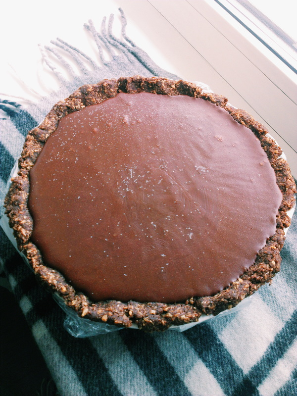 Amazing coconut chocolate pie we had for New Years. Recipe from Oh She Glows