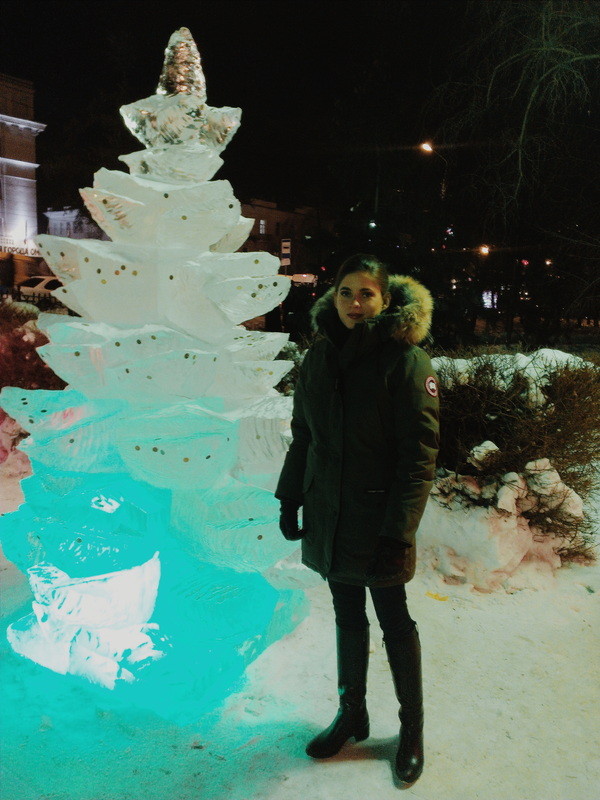 At one of the ice sculptures in Omsk