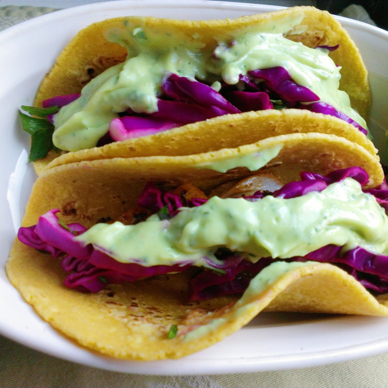 Fish Tacos with red cabbage slaw. By Creating A Curated Life.
